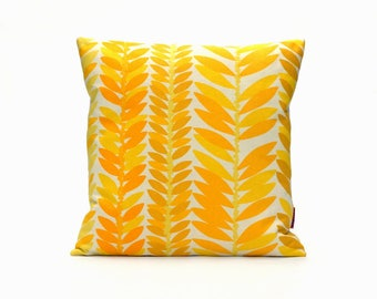 Yellow Modern Pillow Cover 16x16 - Retro Cushion Cover - Vintage Fabric Pillow Case - Mid Century Throw Pillow Handmade by EllaOsix