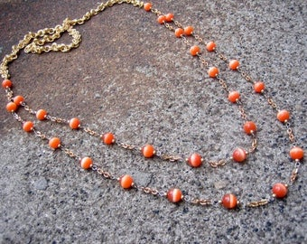 Eco-Friendly Statement Necklace - Orange Moon - Recycled Vintage Chain and Two Strands of Orange Glass Moonglow Beads
