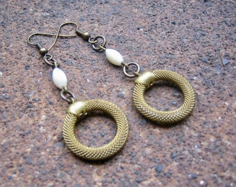 Eco-Friendly Dangle Earrings - Catch the Brass Ring - Recycled Vintage Brass Mesh Hoops and Delicate White Oval Mother of Pearl Beads