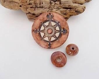 Handmade Ceramic Navigation Compass Pendant and Bead Set