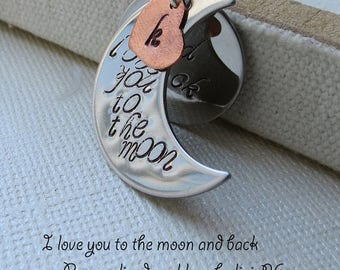 ON SALE I love you to the Moon and Back Necklace/ Personalized Necklace/ Stamped Initial Heart, Grandma Necklace, Mother Daughter, Family Ne