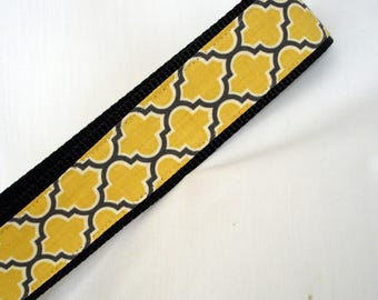 Large Dog Collar - 1.5 Inches Wide - Grey & Yellow  - Wide Dog Collar - Adjustable Between 15-24 Inches - READY TO SHIP