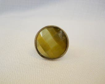 Vintage 1990s 90s Tiger's Eye Ring Sterling Silver Ring Faceted Stone Cocktail Ring Statement Jewelry Pyrrha Jewelry  Silver Jewelry Size 6