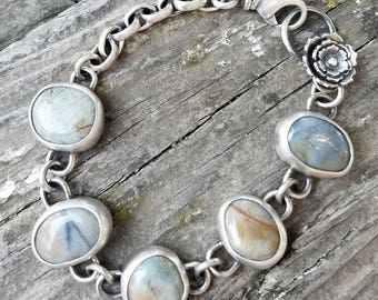 Beach Stone and Sterling Silver Succulent Bracelet