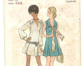 Solar Clearance Vintage 60s MOD Dress Pattern Butterick DIY Micro Mini Drop Waist Go Go
