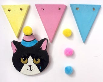Sad Kitten's Party Brooches - Martino - ooak