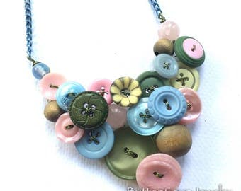 Vintage Button Statement Necklace Pale Pink, Baby Blue and Soft Natural Green