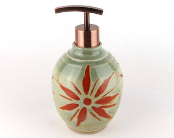 Stoneware Soap / Lotion Bottle - Pottery Soap Dispenser- Lotion Dispenser - 17 oz.- Sage Green / Celery Green with Terracotta Sunburst
