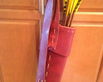 "Traditional Handmade Brown Leather Quiver 20.5"" X 6"" with 7"" Pouch Strap USA NEW"