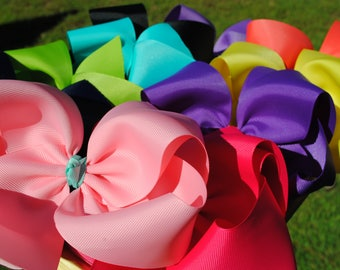 """Extra Large Bow Bundle - Set of Jumbo Hair Bows - Southern Style Bow, 6 Inch Bow - Mega Set of JoJo Style Clip - Made with 2.25"""" Wide Ribbon"""