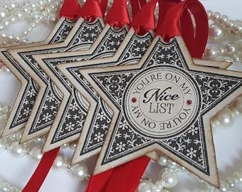 Christmas Tags, Christmas Star Tags, Christmas Gift Ideas, Christmas Presents, Christmas Decor, Xmas Gift Wrap, Kids Christmas