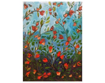 Abstract Floral Art Painting - Climbing Red Rose Garden - 18x24 inch - Original Acrylic Art - Modern Contemporary Art