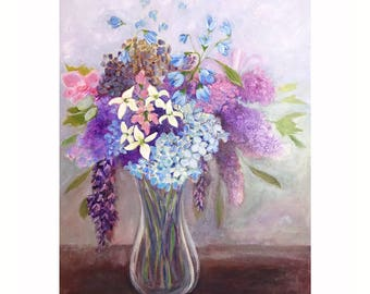 Flower Bouquet Painting - Original Abstract Floral Art - Lilacs, Spapdragons, Hydrangeas, Bluebells, Dogwood flowers - 18 x 24 inch