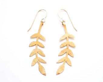 Laurel Branch Earrings | Brass Earrings | 14k Gold Fill Earrings | Sterling Silver Earrings | Laurel Earrings