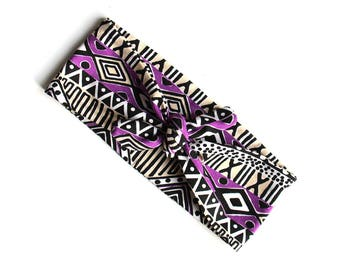 READY TO SHIP Tie Up Headscarf // Knotted Headband // Abstract // Geometric // Tribal