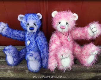 "KIT for Blush AND Blu - mohair artist teddy bears - both are 9"" tall when completed"