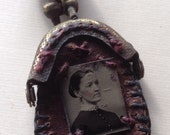 Tin Type lady/child Leather purse necklace