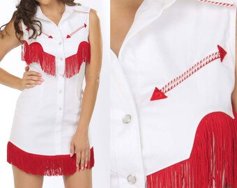 Riley Western Fringe Dress in White and Red