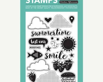 NOW ON SALE October Afternoon Summertime Clear Stamp Set