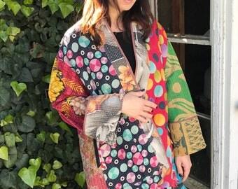 Garden print reversible cotton vintage quilt jacket