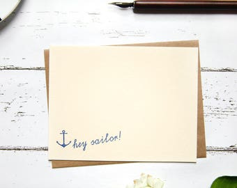 Hey Sailor Letterpress Flat Note Card