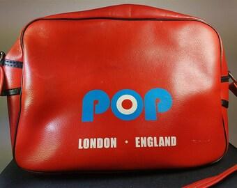 Vintage Red Vinyl Pop Bag London and Manchester England Weekend Shoulder Bag Purse Retro