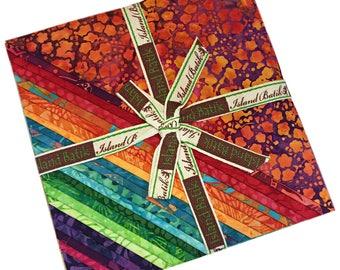 "Island Batik EMPRESS GARDEN Batiks Precut 10"" Fabric Squares Quilting Cotton Island Stacks"
