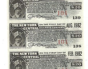 90 Old 1910's-20's RAILROAD Bond Coupons -10 SHEETS - New York CENTRAL Railroad Bonds