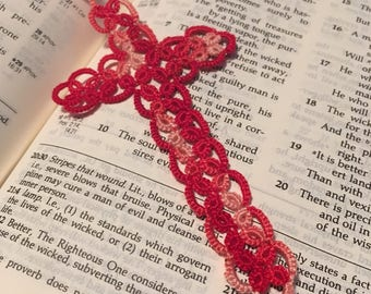 Tatted Cross Bookmark handmade variegated red