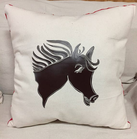 Western Decorative Horse Pillow | Cute Horse Designed Pillow | Canvas Front Pillow | Soft Red Pillow Back