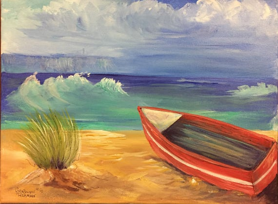 A Boat at the Beach Original Painting