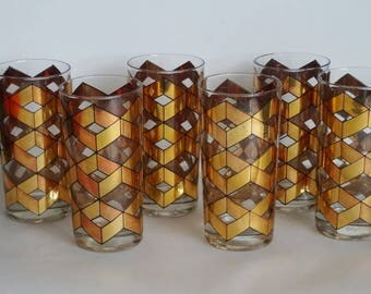 Gold Culver Glasses/Tumblers Geometric Design Focus Escher Style Mid Century Set of 6