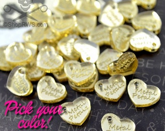 XL Custom Mirrored Heart Tags -  Laser Cut Acrylic - Personalized - You Choose The Color - Qty. 50 or 100