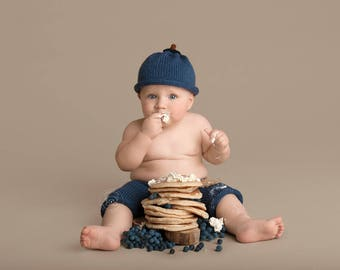 Blueberry Hat and Pants - Baby Boy - Photo Prop for Sitter 6-9 Months