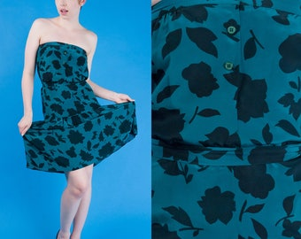 Black and Teal LEAF Print Vtg 80s Strapless Silk Belted Dropwaist Party Dress XS/S