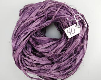 Sari silk ribbon,Silk Sari Ribbon, Aubergine sari ribbon, eggplant sari ribbon, knitting supply, weaving supply, rug making supply
