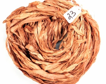 Sari Silk Ribbon, Recycled Silk Sari Ribbon, orange Ribbon, orange sari ribbon, Fall ribbon, weaving supply, knitting supply, crochet supply
