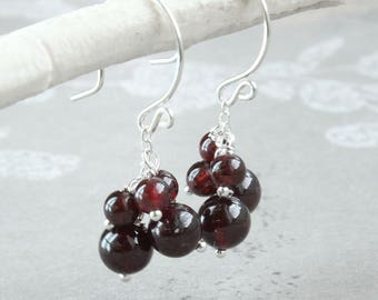 Deep Red Garnet Earrings  Sterling  Silver  January  Birthstone   Gemstone Jewelry  Made For Her Handmade Accessories Cluster Earrings