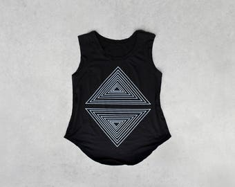 Womens A Line Top, Cap Sleeve Shirt for Women, Muscle Tee Womens Summer Tshirt, Black and White Geometric Triangles Shirt - Rule of Thirds