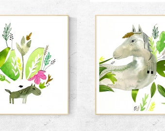 Collage Art, Collage Wall Art, Art Collage, Children Decor, Original Art, Original Illustration, Nursery Artwork, Horse Art