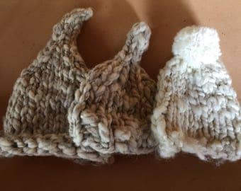 Baby hats from handspun bulky squishy yarn, baby props, bany shower gift,  hand knit baby hats, whimsical and adorable
