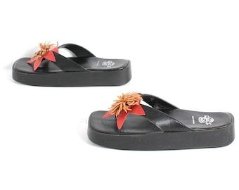 size 8 black PLATFORM red orange leather FLOWER 90s flip flop THONG sandals