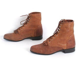 size 10 JUSTIN style brown leather FRINGE ROPER lace up ankle work boots