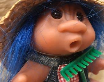 Vintage TROLL toy plastic doll with Blue Hair 1986 Farmer Brown Dam Norfin Troll Doll Trolls