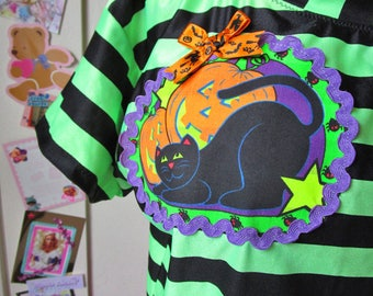 Halloween shirt, 80s gothic party fairy kei neon green vintage size L large