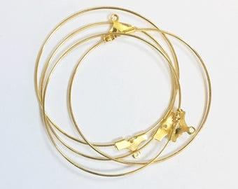 Bulk 100 pcs of Gold plated brass beading hoop 40mm, bulk gold beading hoop