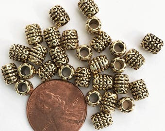 60 pcs of antique gold tube spacer beads 6x5mm,  bulk alloy spacer beads with 3mm hole