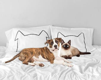 Couples Pillows, His Hers Pillow Cases, Father's Day Gift, Cat Dog Lover, Pillowcase Set, cat pillows, cat bed, dog bed, wedding gift