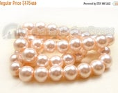 "40% Retirement Closeout - Peach, Glass Pearl, 8mm Glossy Round, 15"" Strand, 8S-GL8PPE-015-001"