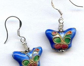 Blue Cloisonne  Butterfly Sterling Silver Earrings